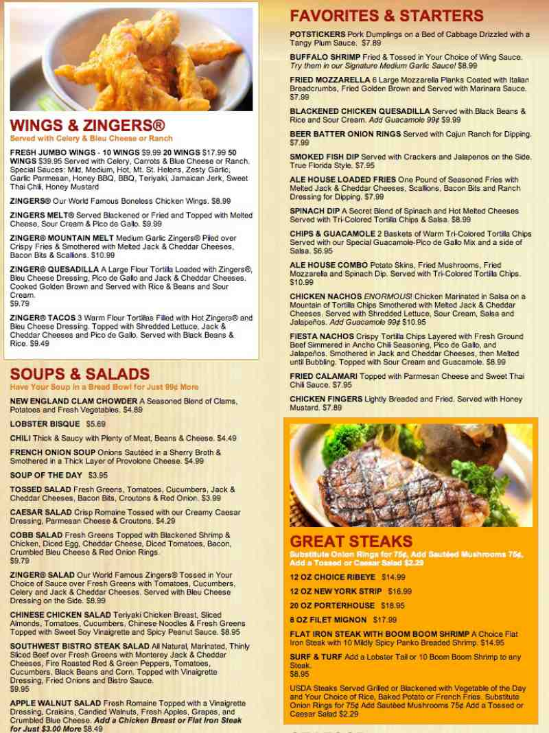 Menu For Davie Ale House 2080 S University Dr Br Davie Fl 33324