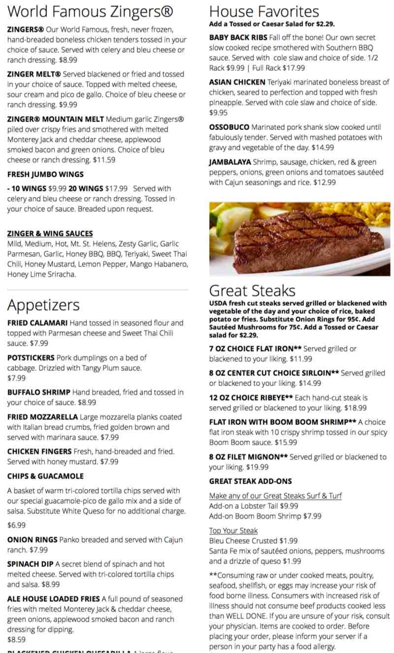 Menu For Hollywood Ale House 3215 Oakwood Blvd Br Hollywood Fl 33020