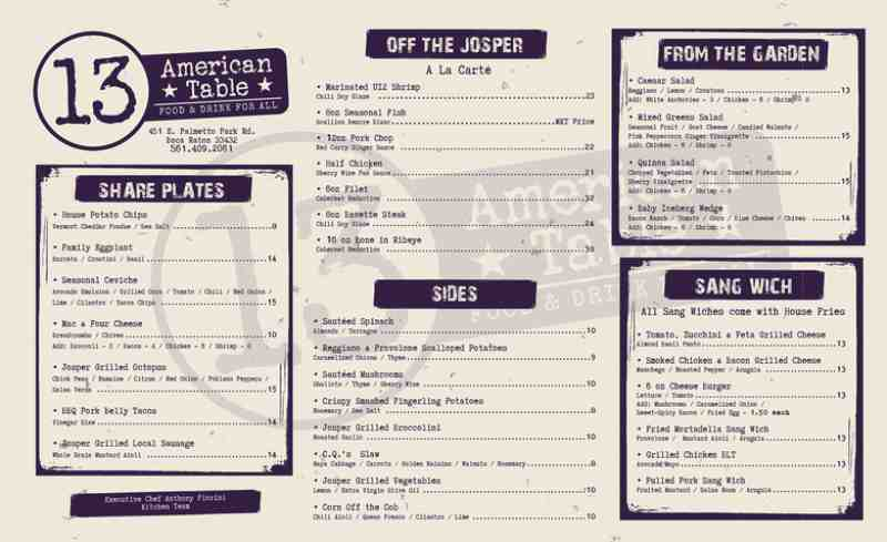 menu for 13 american table 451 e palmetto park rd