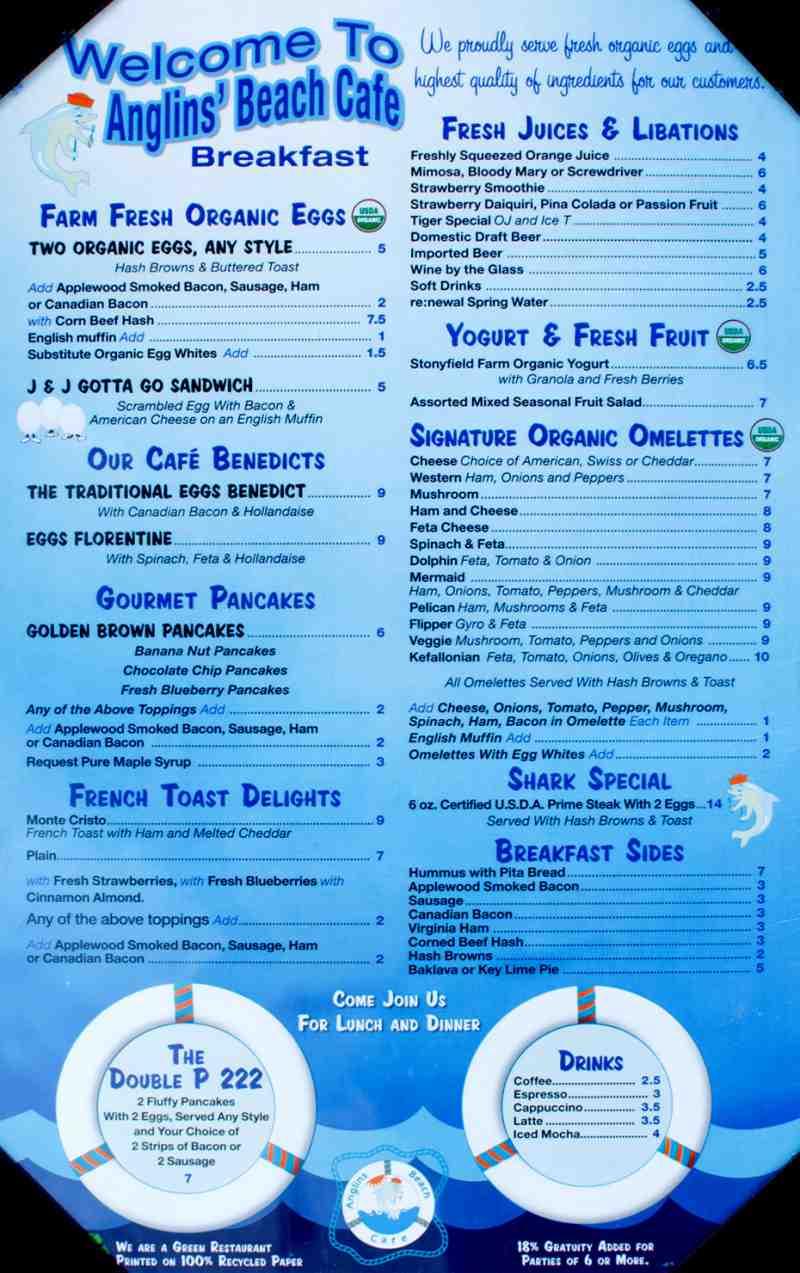 Menu for anglins beach cafe 2 commercial blvd for Atlantic fish menu