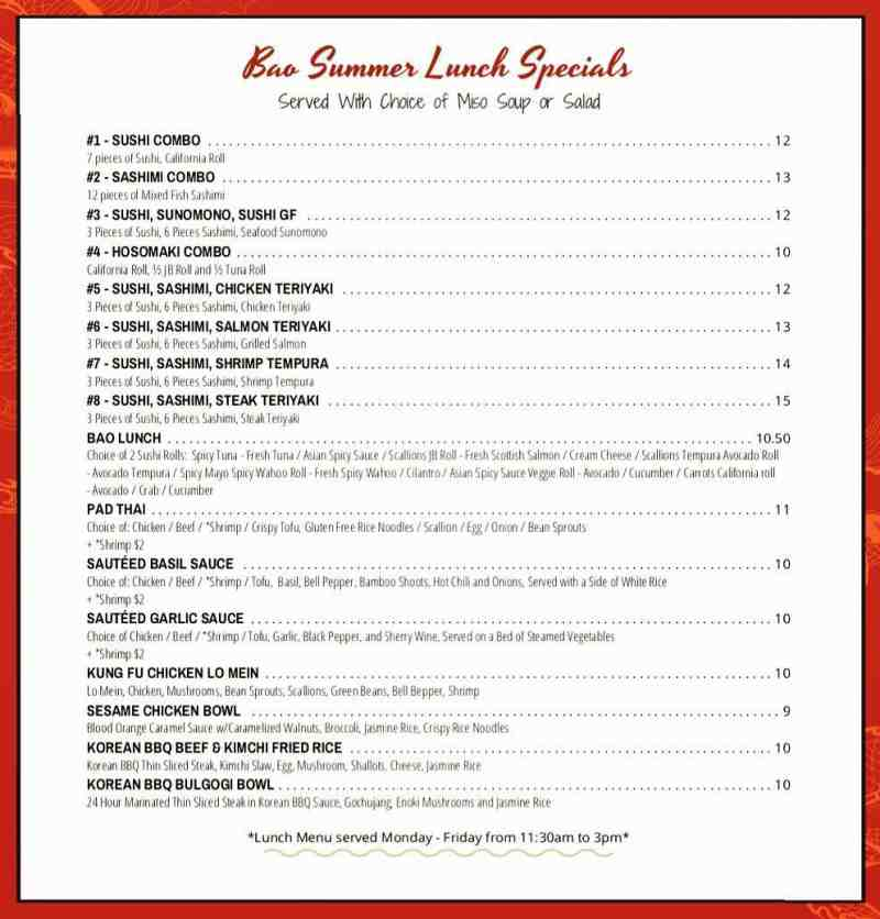 Green Kitchen And Bar Fort Lauderdale: Menu For BAO Bar & Kitchen (1200 E Las Olas Boulevard Fort