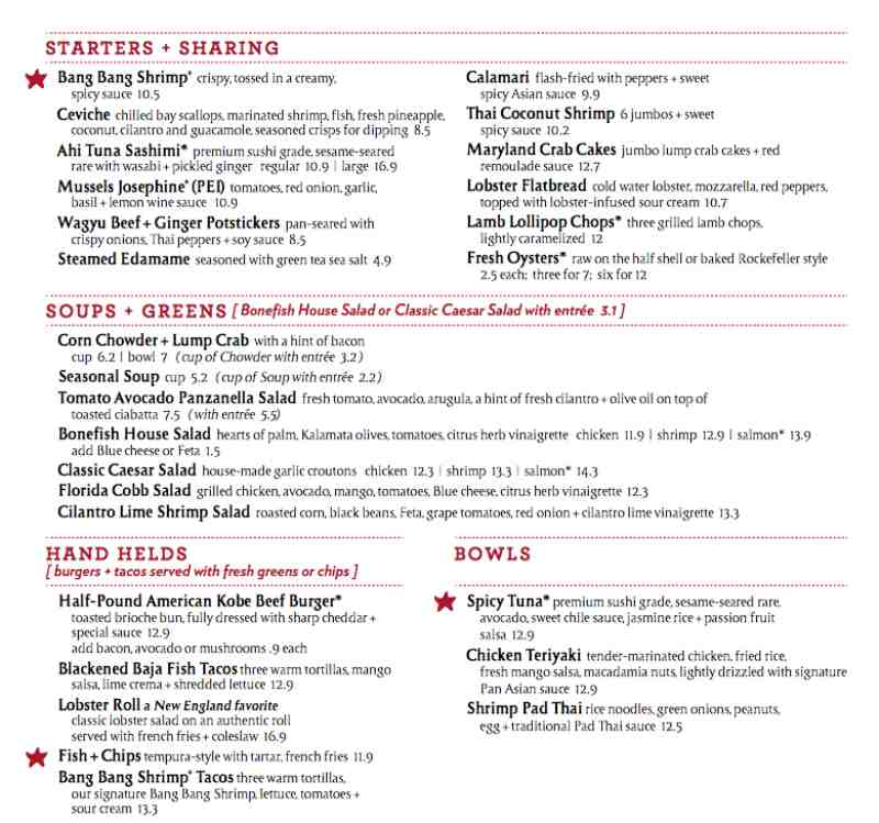 Menu for bonefish grill 10197 w sunrise blvd for Fish bone grill menu