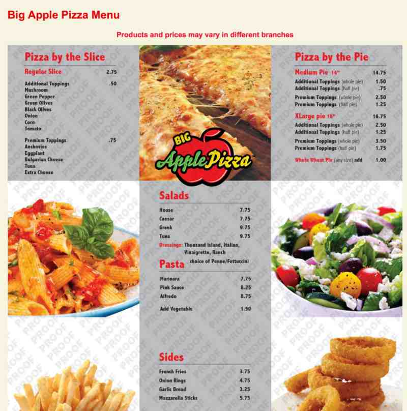 Menu for Big Apple Pizza (4251 State Rd 7 Hollywood FL, 33021)