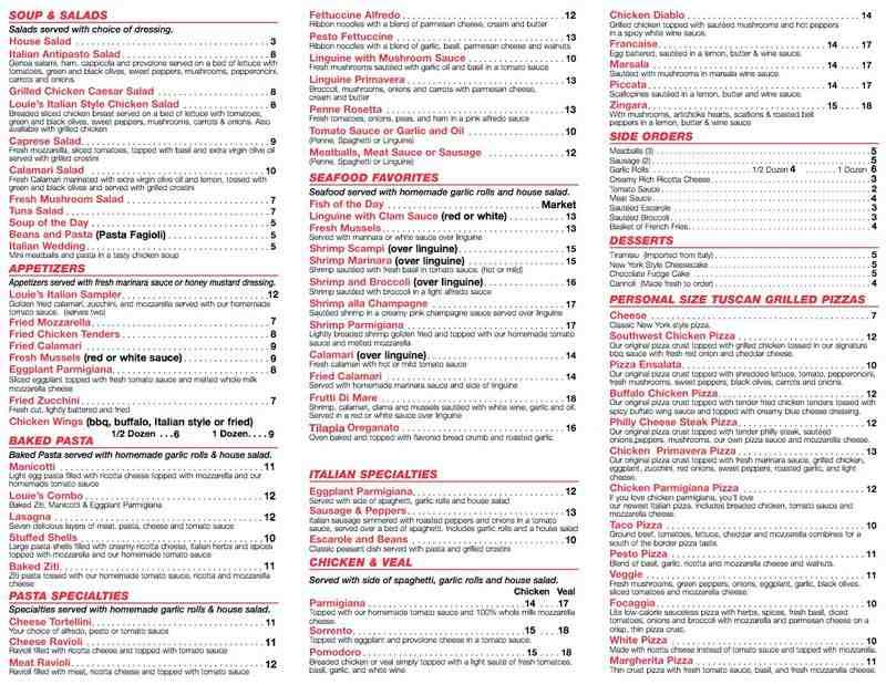 Louie S Cafe Menu Prices