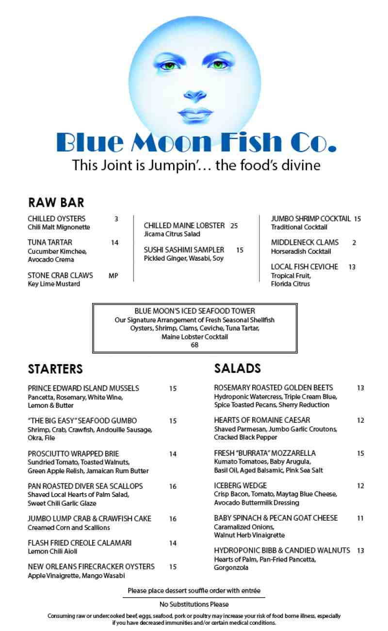 Menu for blue moon fish co 4403 w tradewinds ave for Blue moon fish company brunch