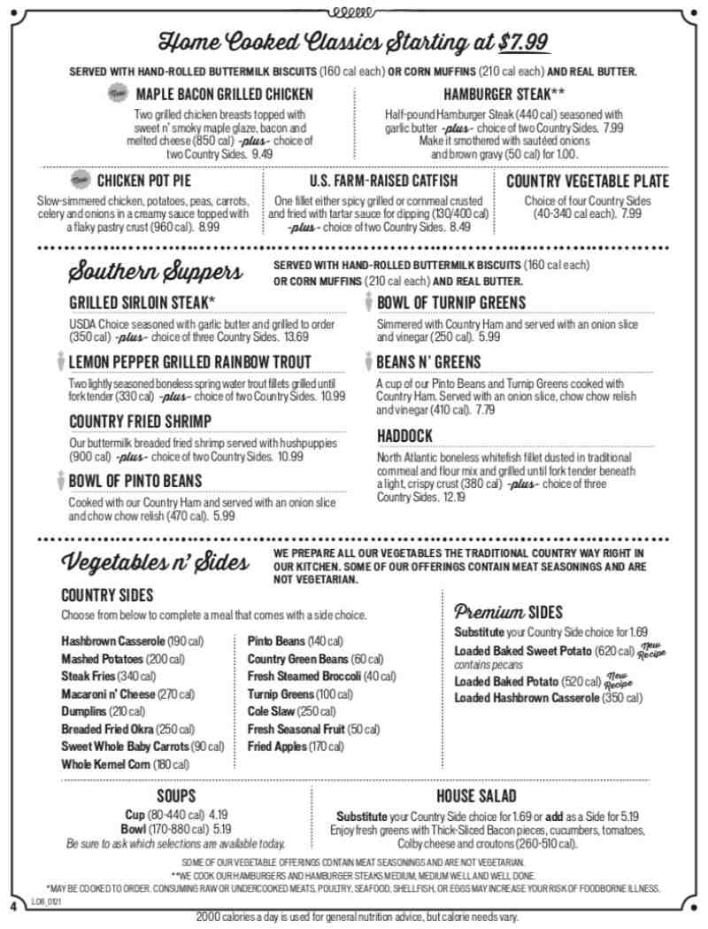 Menu For Cracker Barrel Old Country Store 1250 Sw 11th Way Br