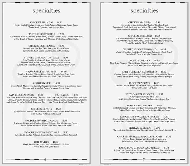 graphic regarding Cheesecake Factory Printable Menu called Menu for The Cheesecake Manufacturing unit (620 E Las Olas Blvd\u003cbr\u003eFort