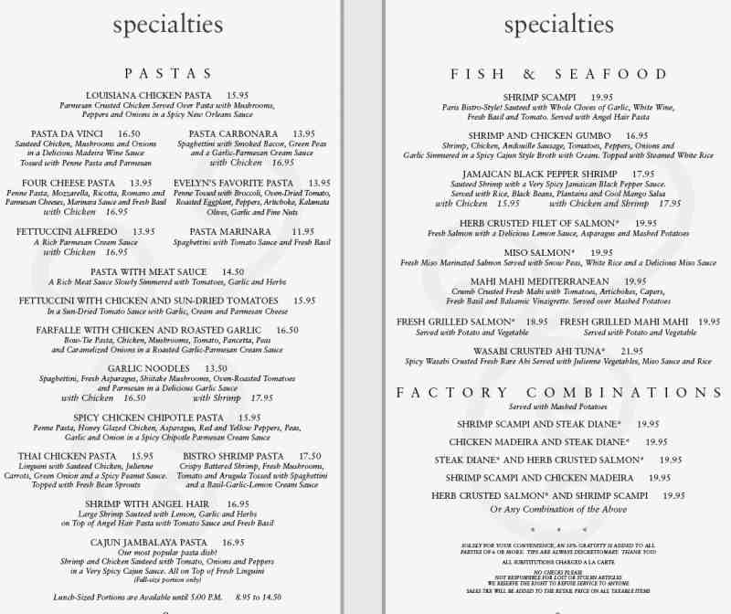 graphic regarding Cheesecake Factory Printable Menu named Menu for The Cheesecake Manufacturing unit (620 E Las Olas Blvd\u003cbr\u003eFort