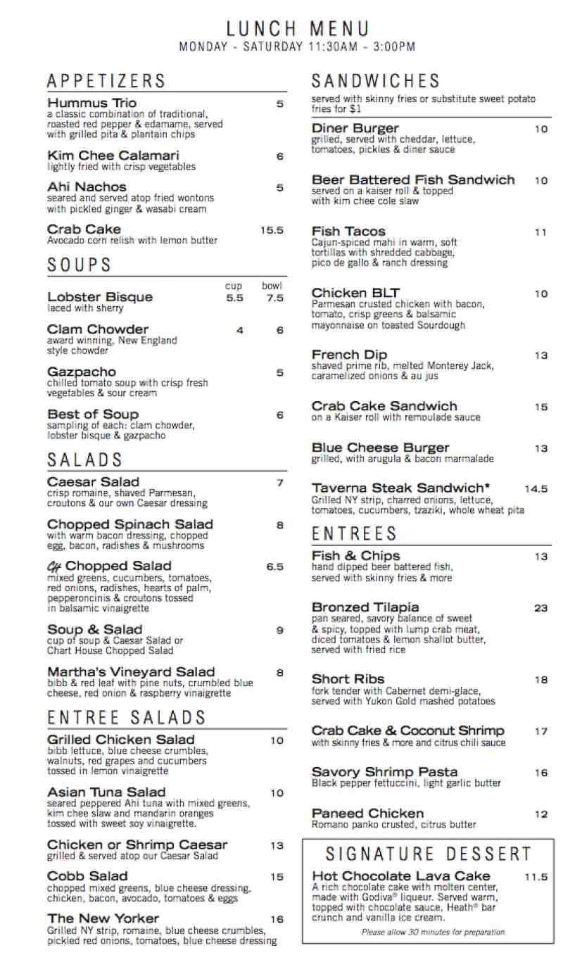 Menu for chart house 3000 northeast 32nd avenue