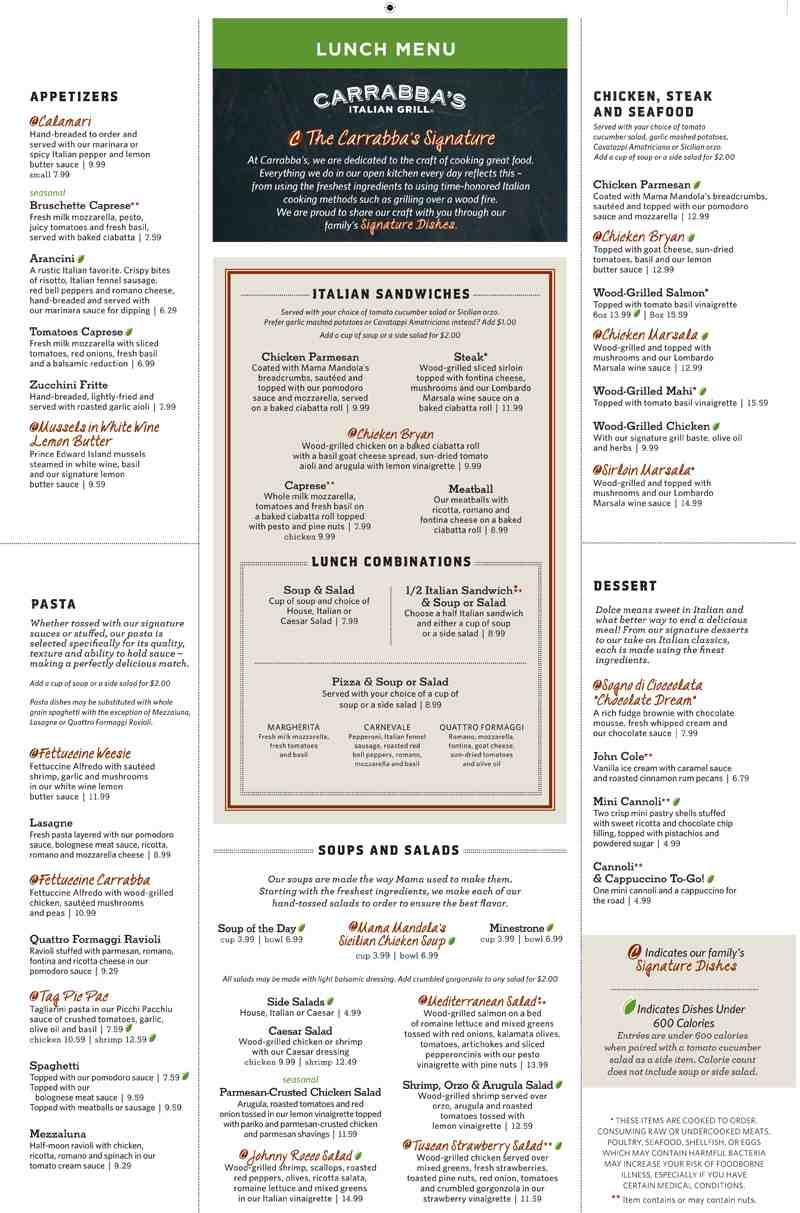 menu for carrabba s italian grill  1299 s federal hwy pompano beach fl  33062 carrabba's italian grill menu with prices carrabba's italian grill orlando menu prices