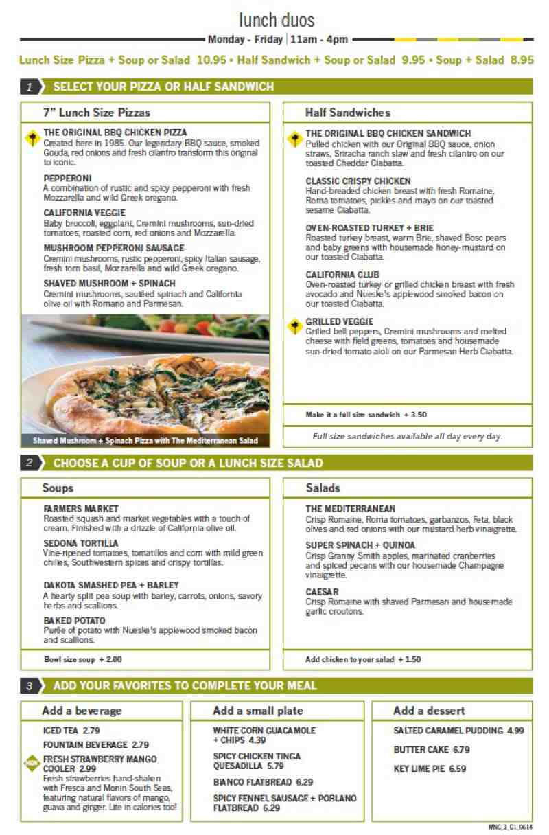 Menu For California Pizza Kitchen Town Center At Boca Raton 6000