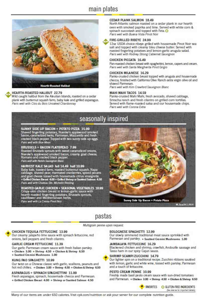 Menu for California Pizza Kitchen (2301 N Federal Hwy<br>Fort ...