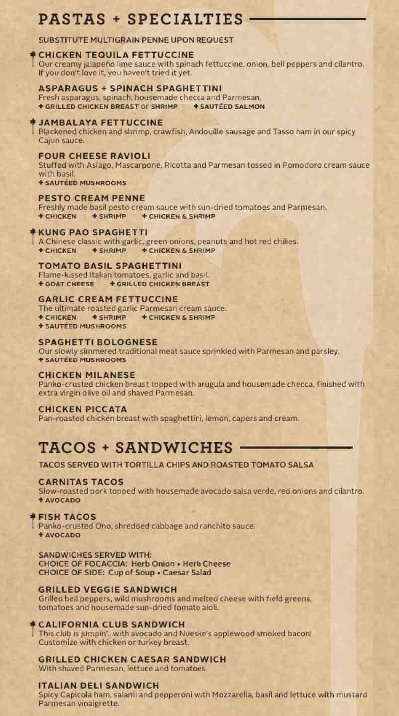 menu for california pizza kitchen (2301 n federal hwy)