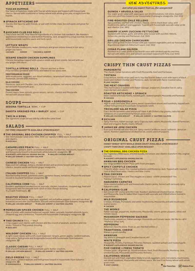 California Pizza Kitchen Menu Pdf