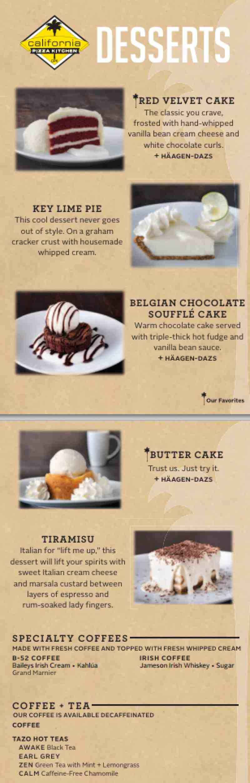 Menu For California Pizza Kitchen 2301 N Federal Hwy Br Fort