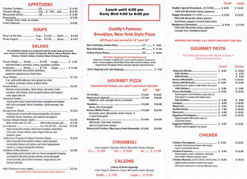 Menu For DaddyS Italian Cafe  E Commercial Blvd