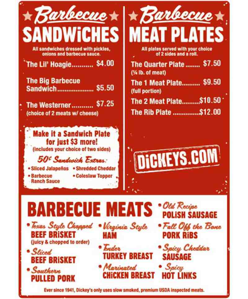 Menu For Dickey S Barbecue Pit 21073 Powerline Road Suite