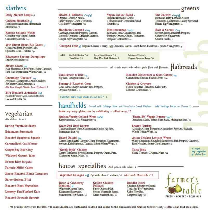 Menu For Farmers Table Military TrailbrBoca Raton FL - Farmers table menu