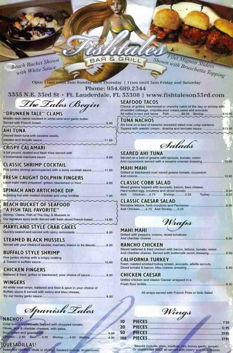 menu for