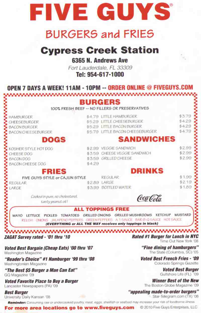 Menu For Five Guys 6365 N Andrews Ave Fort Lauderdale Fl