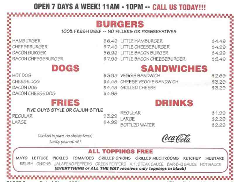 Menu for Five Guys (13440 SW 120 St Unit 610)