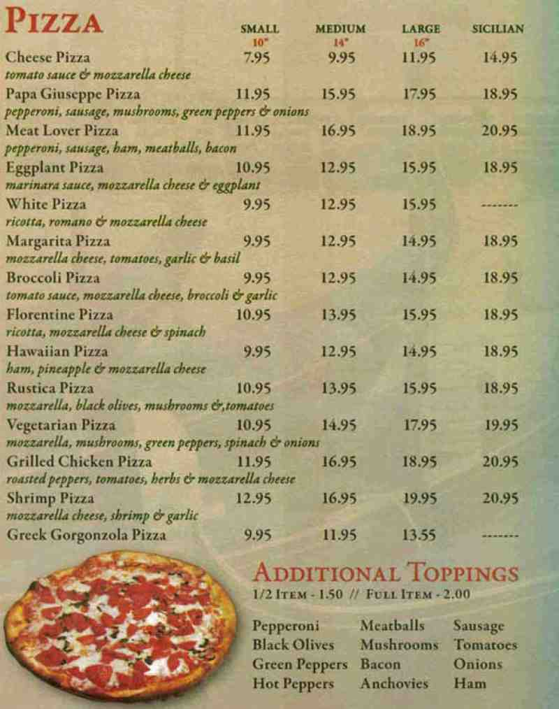 Menu For Papa Giuseppe Pizza 660 Linton Blvd