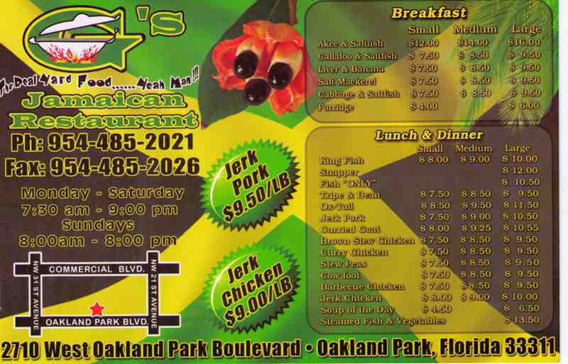 Menu For G S Jamaican Restaurant