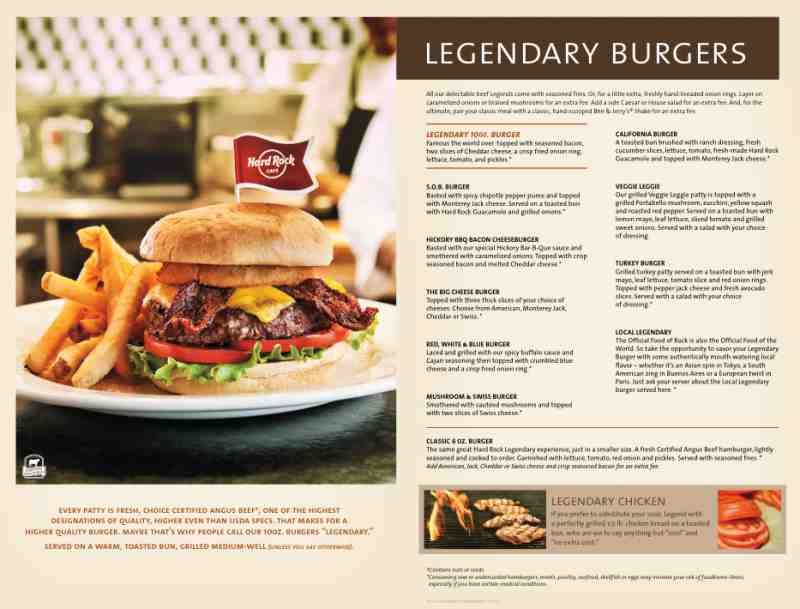 Menu Prices At Hard Rock Cafe Hollywood