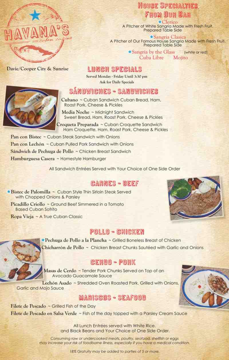 Menu for havana 39 s cuban cuisine 8600 griffin rd for Bar food la menu