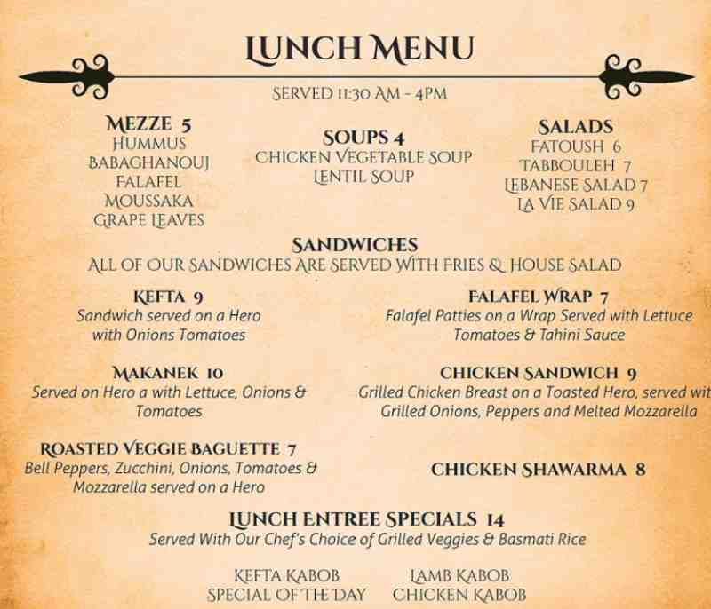 Lebanese Food Menu