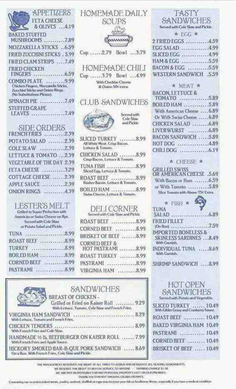 Menu For Lester S Diner 250 W State Road 84 Fort