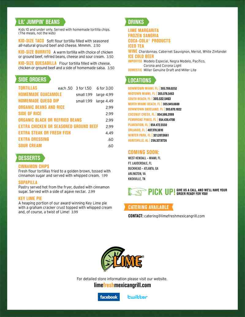 Menu for Lime Fresh Mexican Grill (1535 N Federal Highway)