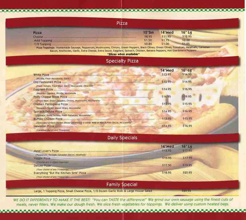 Menu For Little Italian Pizza  S Cypress Rd