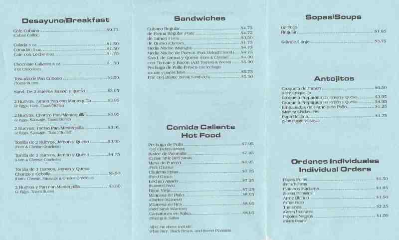 Menu For Mama S Latin Cafe 1015 W State Road 84 Fort