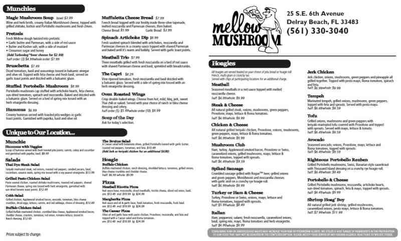 Menu For Mellow Mushroom 525 N Federal Hwy Suite E