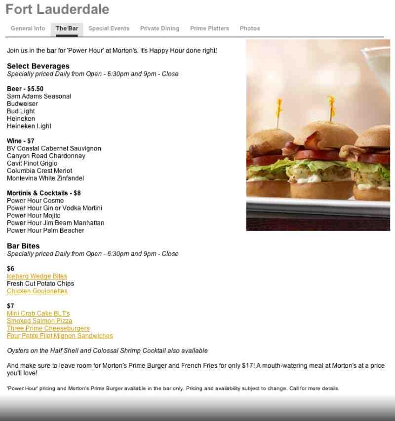 Menu For Morton S The Steakhouse 5050 Town Center Cir Ste 219