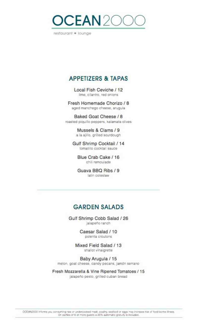 Menu For Ocean 2000 2000 N Ocean Blvd Fort Lauderdale Fl