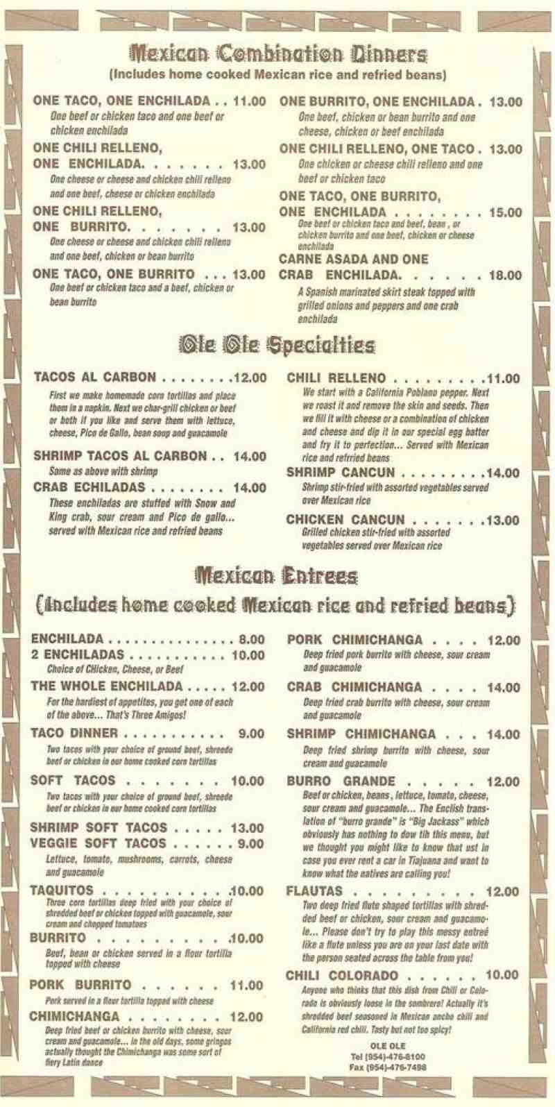 Cafe Ole Menu With Prices
