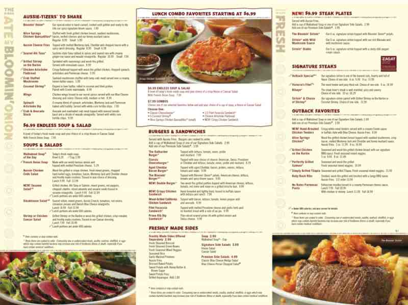 Outback Steakhouse Menu Prices, Price List. List of prices for all items on the Outback Steakhouse menu. Find out how much items cost. List of prices for all items on the Outback Steakhouse menu. Find out how much items cost.