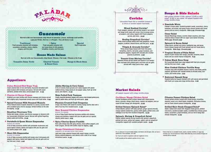 Menu For Paladar Latin Kitchen U0026 Rum Bar (Restaurant Is Closed)