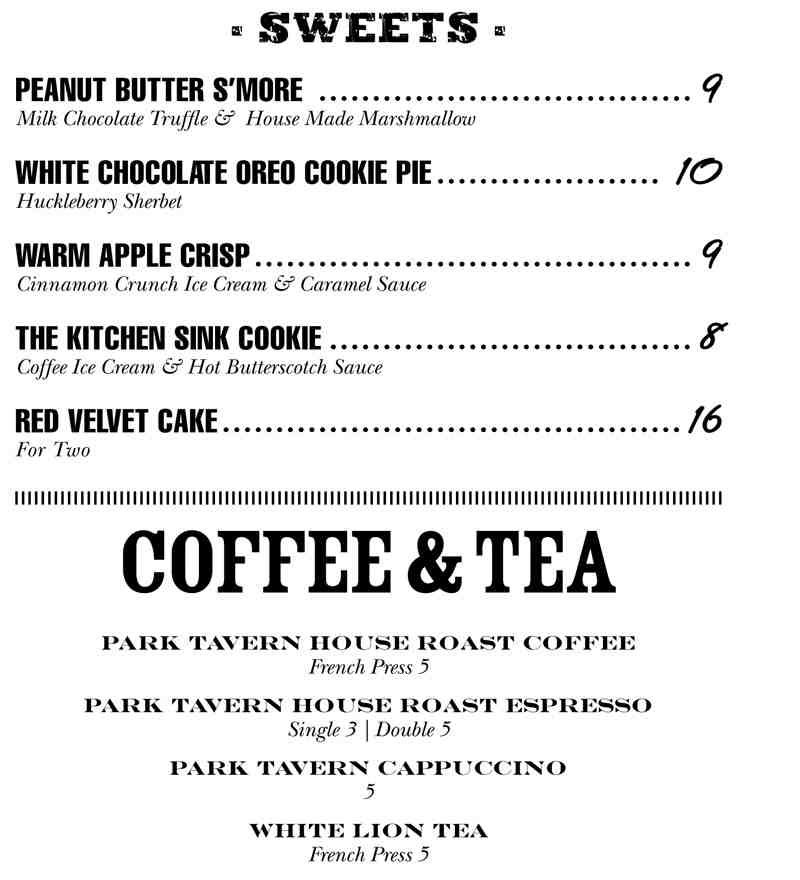 Menu For Park Tavern 32 Se 2nd Delray Beach Fl 33444