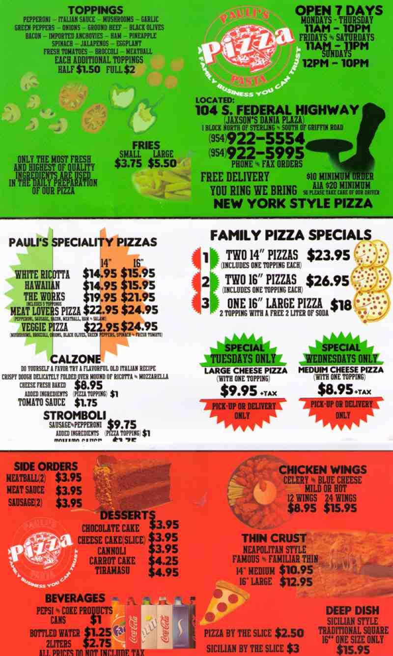 Paulis Pizza Dania Beach Fl