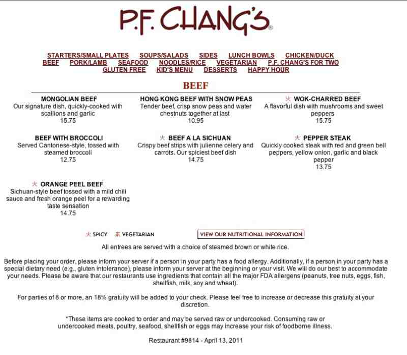 picture about Pf Changs Printable Menu titled Pf changs menu charlotte nc / Gluten absolutely free hen stuffing