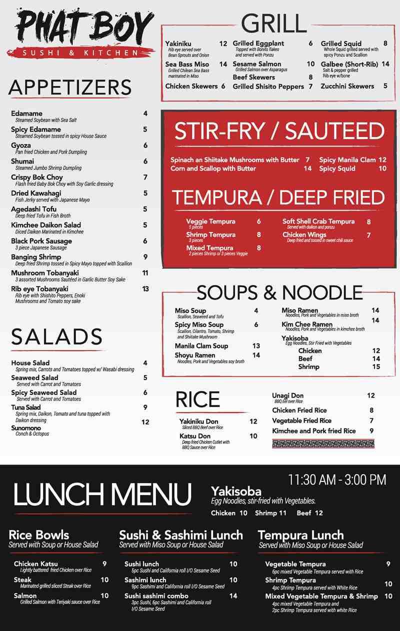 Menu for Phat Boy Kitchen (4391 N Federal Hwy)