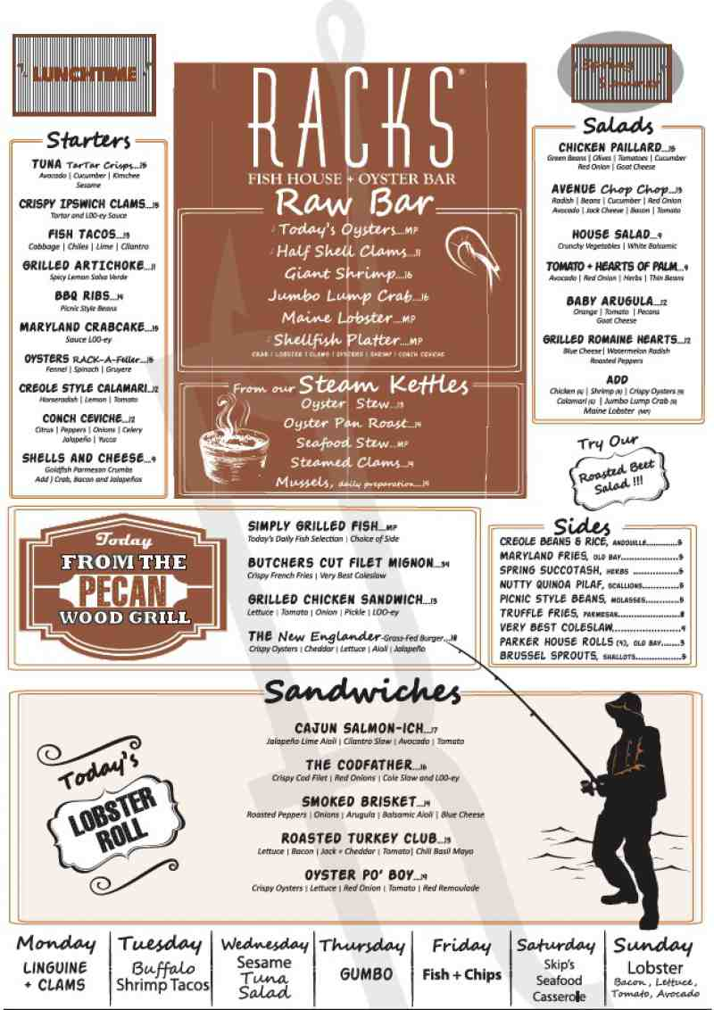 Menu For Racks Downtown Eatery Tavern 402 Plaza Real