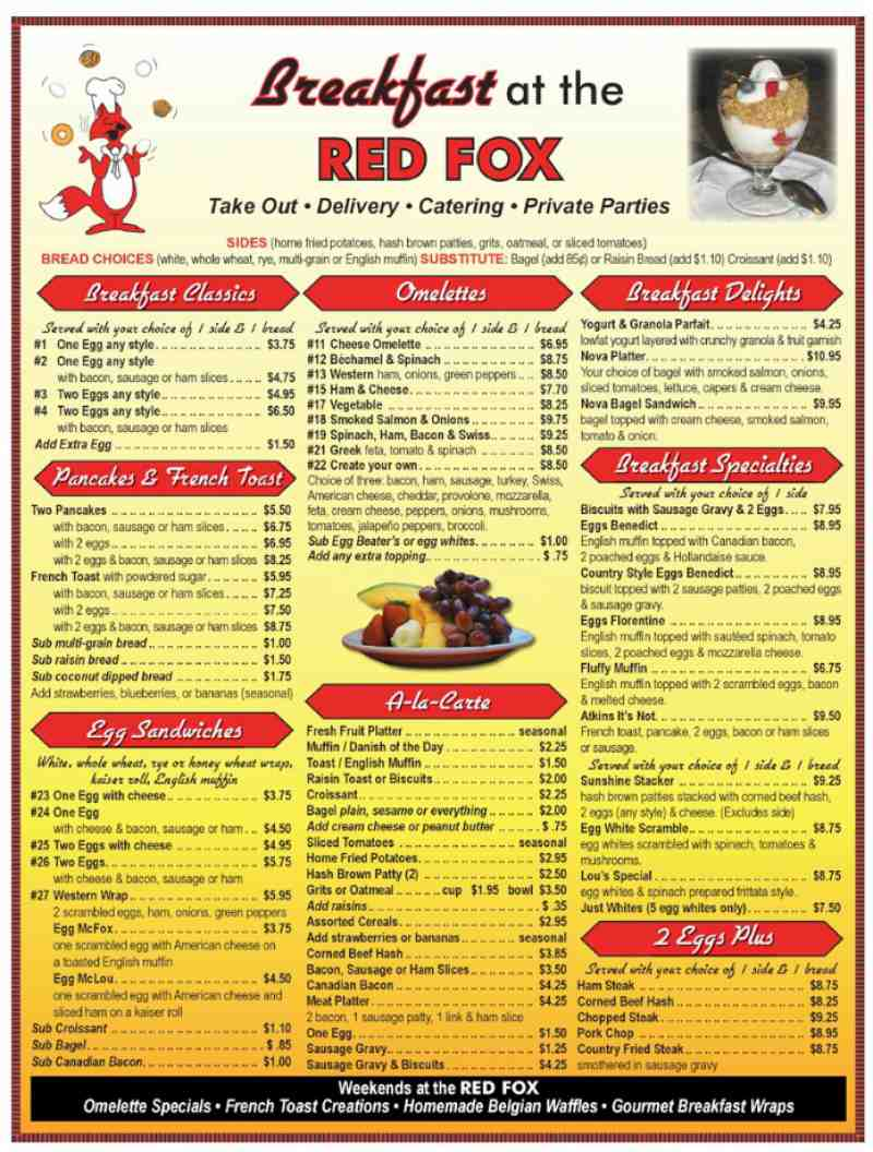 Menu for Red Fox Diner (3640-1 N Federal Hwy Lighthouse ...