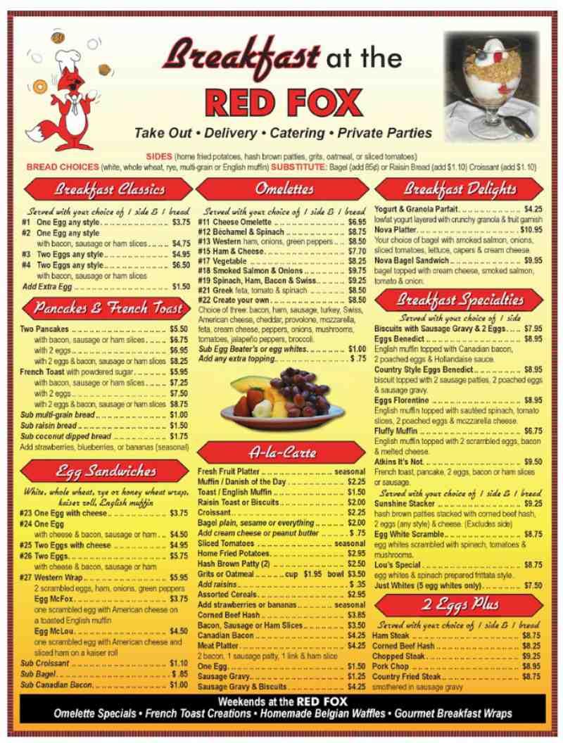 Menu For Red Fox Diner 3640 1 N Federal Hwy
