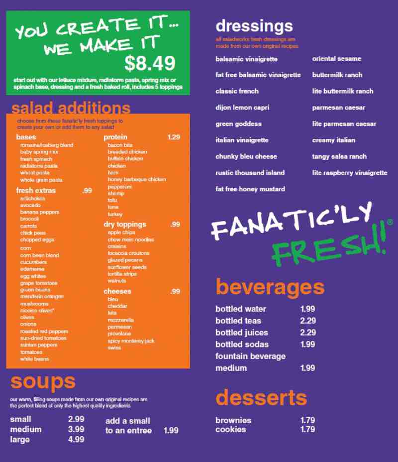 Menu For Saladworks 630x Andrews Avenue Fort Lauderdale