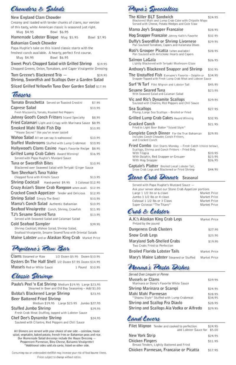 menu for seafood world  4602 n federal hwy