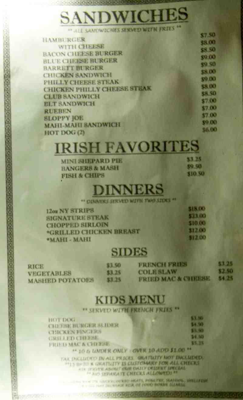 Menu for Sly Fox Olde Irish Pub (3537 Galt Ocean Dr Fort ...